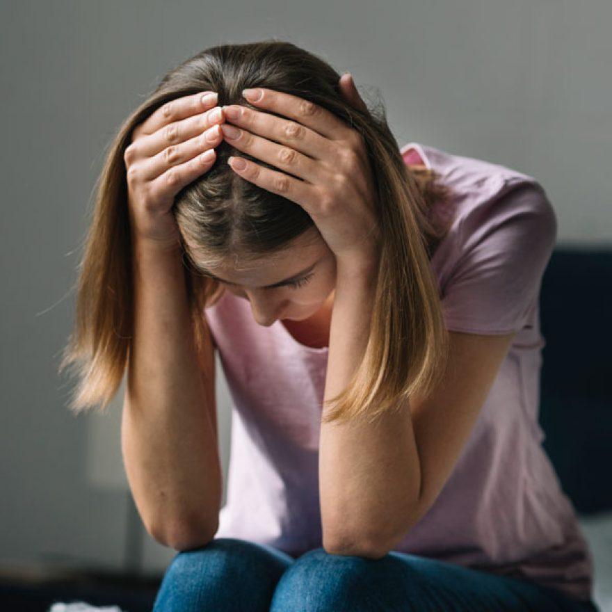 Sad woman, PTSD